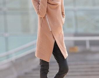wool coat, winter coat, women coat, Asymmetrical coat, plus size coat, high collar coat, womens wool coat, Vintage coat, camel coat C176