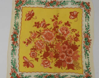 1940s Crepe Floral Hankie - Perfect Gift