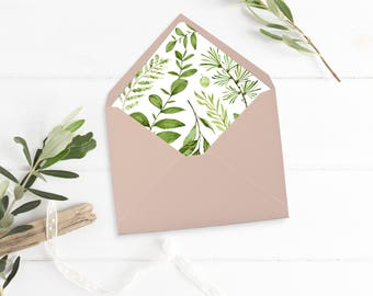 Printable Greenery Envelope Liner, Leaves Envelope Liner, Botanical Envelope Liner, Watercolor Foliage Liner, Download 105-A 126-W 035-W