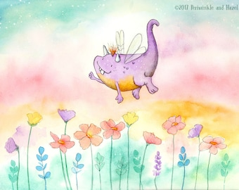 The Happy Dragonfly - Cute Purple Flying Dragon Monster -  Art Print