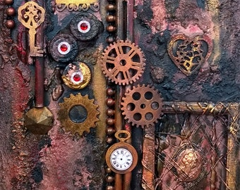 """Acrylic painting """"Steampunk minds"""" collage Victorian steampunk industrial Gothic vintage style shabby acrylic paint gears"""