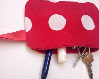 Coin purse, pouch, polka dot, white, red, white polka dots, red lining cotton, fabric clutch in cotton, viscose