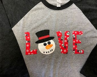 Snowman Winter Appliqued Shirt