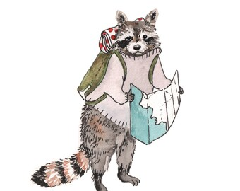 Raccoon print, raccoon nursery art, watercolor raccoon, woodland animal art, raccoon illustration, woodland nursery art, travel art