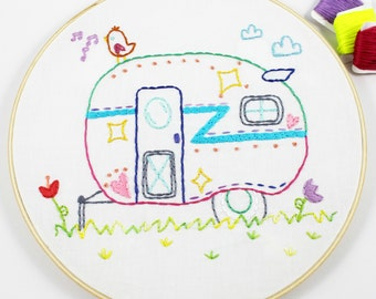 Retro Camper. Hand Embroidery Pattern. Embroidery Designs. Summer Travel. Glamping. Road Trip. PDF Pattern. Airstream camper. Camping.