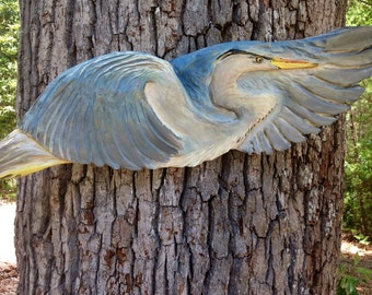 "Flying Blue Heron 36"" chainsaw wood heron carving wild bird sculpture home rustic beach house nautical cottage decor coastal living wall art"