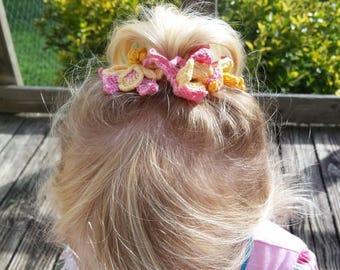baby columbine headband/barrettes crochet pattern, DIY thread crochet barrettes, headband pdf, baby hair clips diy, girls headband pattern