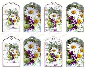 Gift Tags Scrapbook Instant Digital Download Printable Daisy Daisies Violets Paris Postmark
