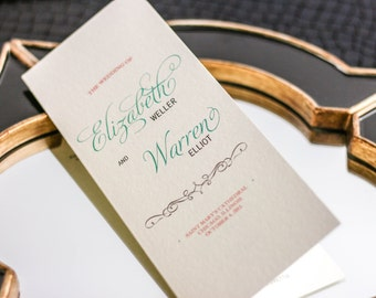 """Coral and Aqua Wedding Ceremony Program, Vintage Stationery, Order of Service Card - """"Enchanting Vintage"""" Folded Booklet Program - DEPOSIT"""