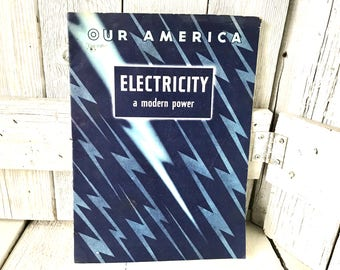 Vintage sticker book Electricity A Modern Power childrens science Coca Cola retro color illustrations 1942/ free shipping US