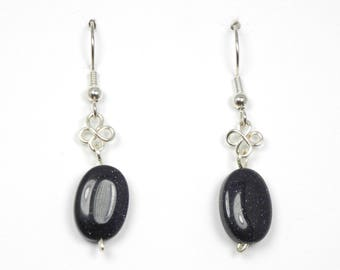 Sparkling Black Glass with Silver Wirework Earrings