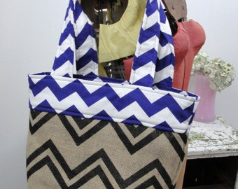 Purple chevron Burlap tote bag