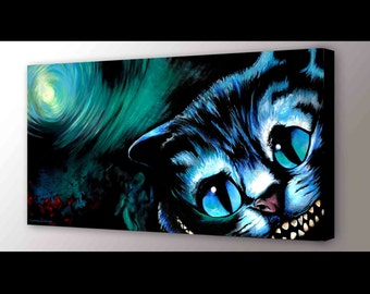 Cheshire Cat Art Print | Alice in Wonderland Decor | Disney Art | Cheshire Cat Canvas Print | Cheshire Cat Painting | Cheshire Wall Art