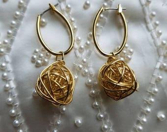 Gold Orb Charm Dangle Earrings
