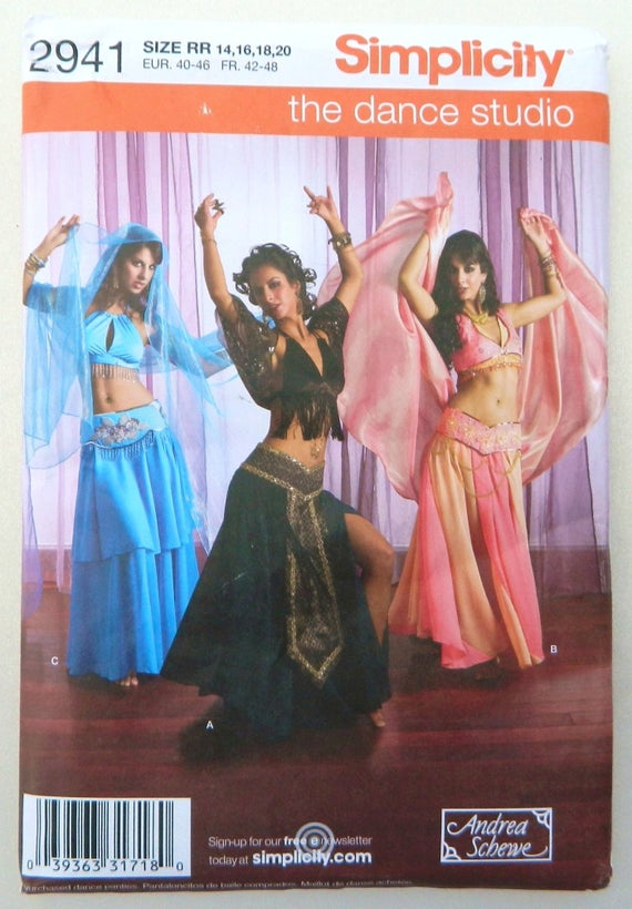 Belly Dancer Costumes - Simplicity Sewing Pattern 2941 Size 14 - 20 ...