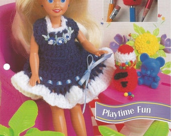 Playtime Fun, Crochet Doll Clothes, Annies Fashion Doll, Crochet Club, FCC13-02, Doll Dress, Doll Jumper, Gumball Machine, Pencil Topper