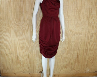 Vintage 1970's Maroon Wine Cascade Ruched Disco Sundress Sun Dress Small S
