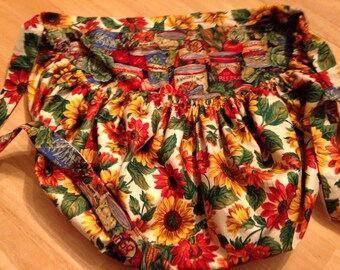 Reversible Sunflower Veggie Print Apron with Pocket