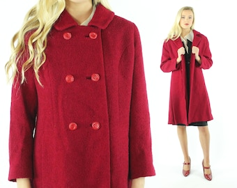 50s Wool Coat Crimson Red Boucle Double Breasted Winter Pea Coat Vintage 1980s Medium M Pinup Rockabilly