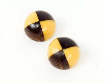 40s Bakelite Clip Earrings   Yellow and Brown