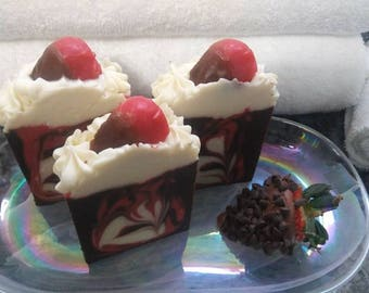 Chocolate Covered Strawberry Handmade Artisan Soap