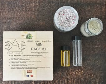 mini facial set, complete skin care set- all skin types, perfect for gift + travel