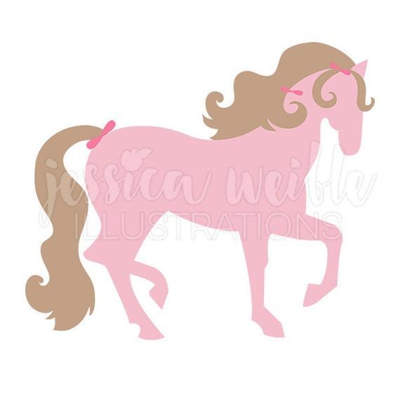 pretty pink pony cute digital clipart girls pink horse clip rh etsy com pretty little girl clipart Popular Girl Clip Art