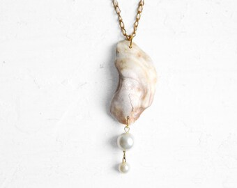 Oyster Shell Necklace & Pearls - Natural Chesapeake Bay Seashell Jewelry