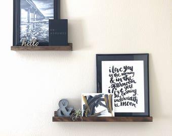 Modern Floating Wood Shelves, Floating Shelves, Floating Shelf, Stained Rustic Shelves, Open Shelving, Bathroom Shelf,Rustic Wood Wall Decor