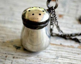 Diffuser Necklace, Essential Oils, Perfume Diffuser Necklace, Tiny Vintage Pewter Salt Shaker, Aromatherapy Diffuser, Diffuser Jewelry (2626
