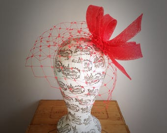 Red Veiled Fascinator Headpiece