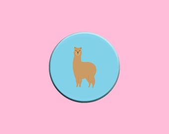 Cute Llama Pinback Button Badge - 1.25 Inch Button Magnet Pin - Blue Background - Alpaca - Animal - Fun - Backpack Accessory - Tote Bag