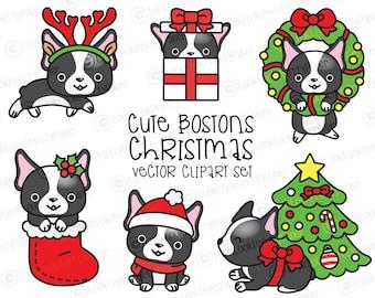 Premium Vector Clipart - Kawaii Christmas Bostons - Cute ChristmasBostonss Clipart Set - High Quality Vectors - Kawaii Christmas Clipart