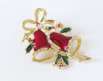 Vintage Red Christmas Bells with Red Holly Berry and Green Leaf Brooch on a Gold Tone Setting - Christmas Brooch - Gift for Her