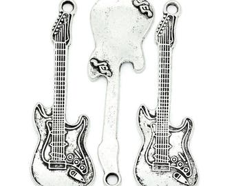 Large silver plated guitar pendent (x 1)