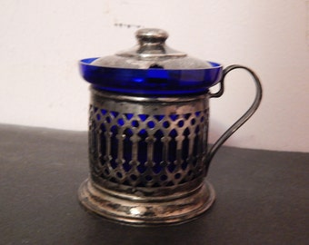 Vintage Sterling Silver Mustard Pot with Lid and Cobalt Blue Glass Insert