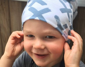 organic baby slouch beanie (made to order) bamboo. organic cotton. blue x. white. hat. kids beanie