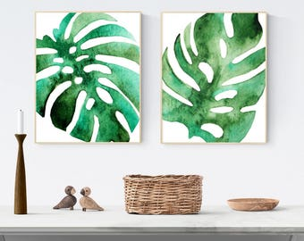 Set of two watercolour botanical prints, tropical leaves, monstera leaf, PRINTABLE wall art, instant download