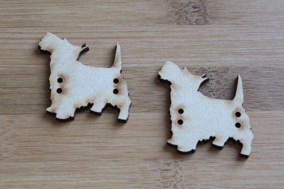 2  Scottie Dog buttons, 4.1 cm Buttons -Acrylic and Wood Laser Cut-Jewellery Supplies-Little Laser Lab Wood and Acrylic Products