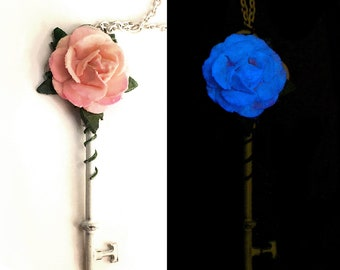 Baby Pink Rose - Glow in the Dark Key Necklace