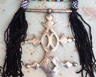 HUGE Tuareg Compass Cross of Agadez Both with Long Leather Cords
