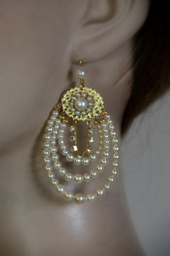 Bridal chandelier earrings bridal earrings gold rhinestone like this item mozeypictures Gallery