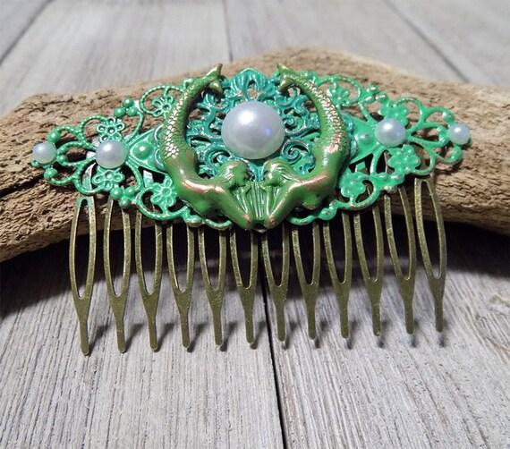 filligree antique bronze hand painted mermaid hair comb