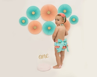 Aqua and Peach with Gold Glitter, Set of Eight (8) Paper Rosettes