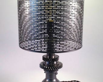 Modern Industrial | Vintage Industrial Table Lamp with Metal Shade | Gears | Steampunk