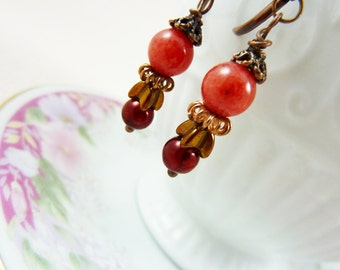 Autumn Fall Harvest Beaded Drop Earrings with Coral, Vintage Copper, Czech Glass Flower and Pearl Beads, Leverback Dangles