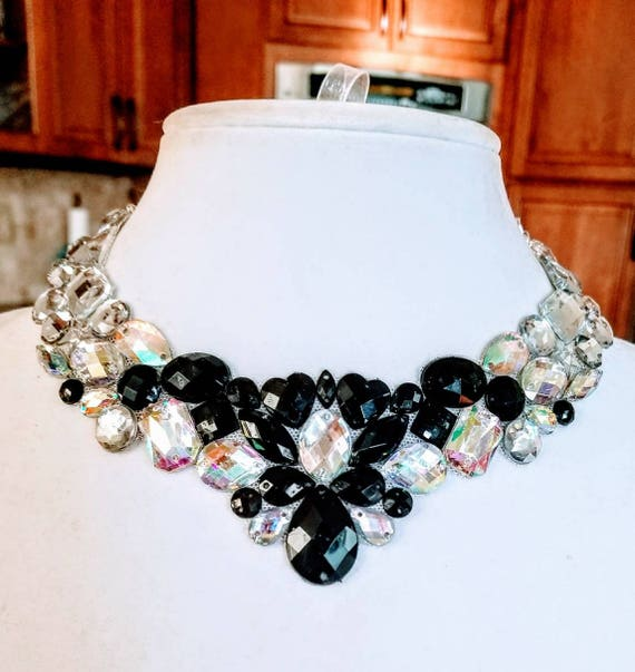 Bold Elegance - rhinestone bling necklace, illusion necklace, rhinestone bib, floating necklace, rhinestone statement necklace