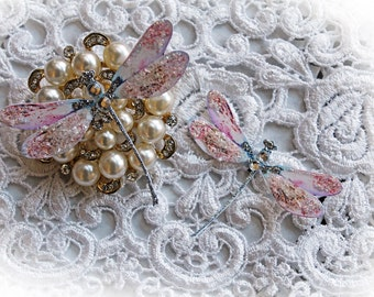 Reneabouquets Dragonfly Set ~ Frosty Pink Dragonflies,  Scrapbook Embellishment, Wedding, Home Decor, Party Decoration