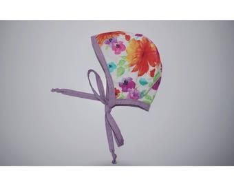 Reversible floral bonnet, baby bonnet, colorful bonnet, spring bonnet