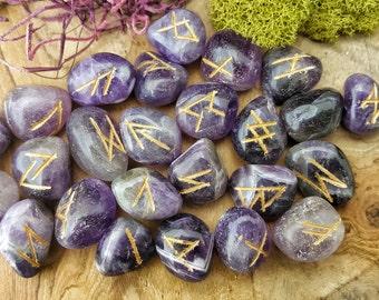 Amethyst Rune Set for Reiki Healing-  395